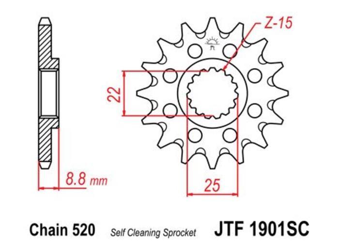JT Voortandwiel Staal Anti-modder KTM EXC/EXC-F