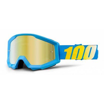 100% Crossbrille The Strata Blue / Gold Verspiegelt