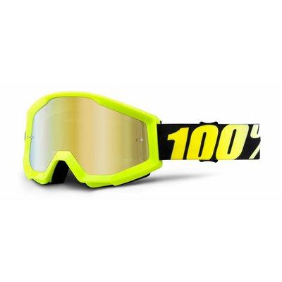 100% Crossbrille The Strata Neon Yellow - Gold Verspiegelt