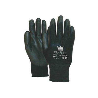 PU FLEX Nylon Working Gloves - Black Size 10 (XL)