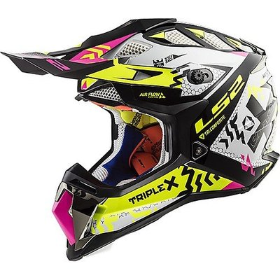 LS2 MX470 Subverter Triplex - Gloss Black Pink Fluor Yellow