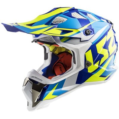 LS2 MX470 Subverter Nimble - Gloss White Blue Fluor Yellow
