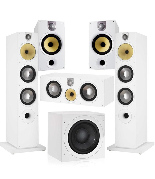 Bowers & Wilkins 685 S2 +  ASW610 + 683 S2 + HTM61 5.1 set (wit)