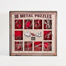 Breinpuzzel set metaal (10 puzzels. rood)