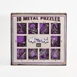 Breinpuzzel set metaal (10 puzzels. paars)
