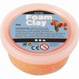 Foam klei Glitter oranje 35 gram