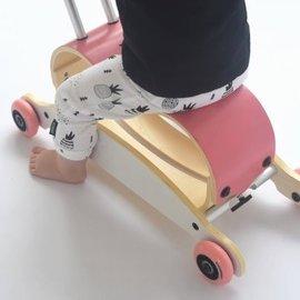 Wishbone Mini Flip roze/wit - roze wielen