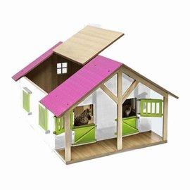 Kids Globe Paardenstal hout met 2 boxen en berging (roze) 1:24