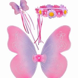 Souza Elfen set Violetta. vleugels+staf+tiara. roze/paars