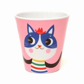 Petit Monkey Petit Monkey Plastic beker Kat roze