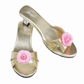 Souza Slipper hoge hak Mila met roze bloem. goud metallic mt 27/28