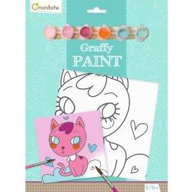 Mandarine Mandarine Graffy paint - Hartjes kat (20x20 cm)