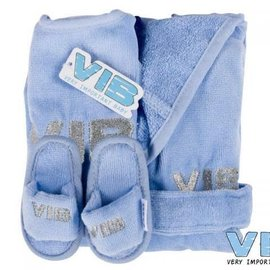 Very Important Baby Very Important Baby - Giftset blauw (badjas 62-68, slab en slippers)