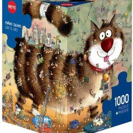 Heye Heye Cat's Life 1000 stukjes 3 hoekig met poster