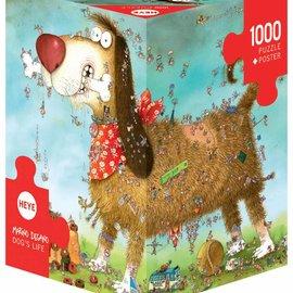 Heye Heye  Dog's life 1000 stukjes 3 hoekig met poster