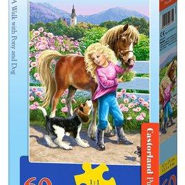 Castorland Castorland Een wandeling met paard en hond (60 stukjes)