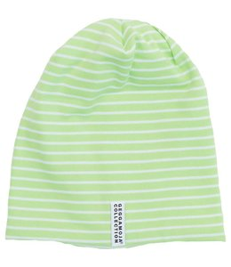 Geggamoja Geggamoja Mütze Streifen lime green/weiss