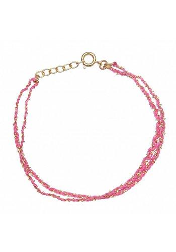 Les Soeurs Rina Double Bracelet Dark Pink Gold