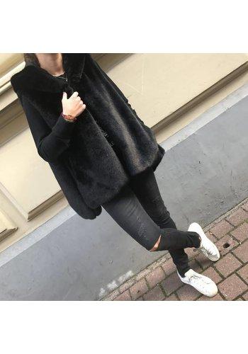 LJVE Giada Faux Fur Bodywarmer Black