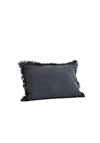 Madam Stoltz Cushion With Fringes Charcoal
