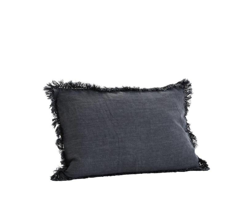 MS Cushion With Fringes Charcoal