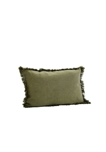 Madam Stoltz Cushion With Fringes Khaki