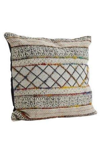 Madam Stoltz Handwoven Etnic Cushion Black/Beige/Multi