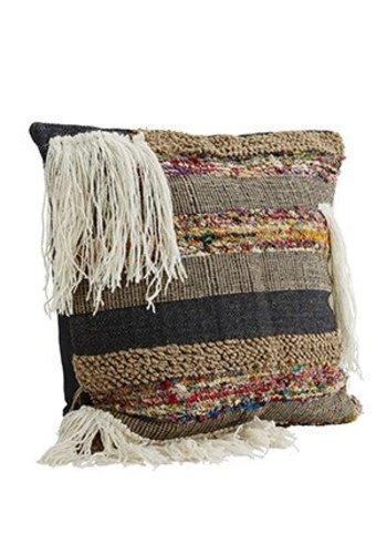 Madam Stoltz Handwoven Etnic Cushion White/Black/Multi