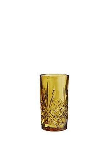 Madam Stoltz Longdrink Glass Cutted Amber