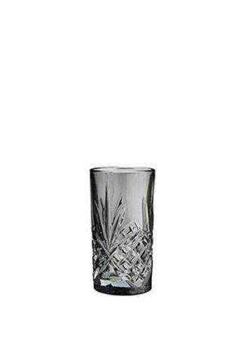 Madam Stoltz Longdrink Glass Cutted Grey
