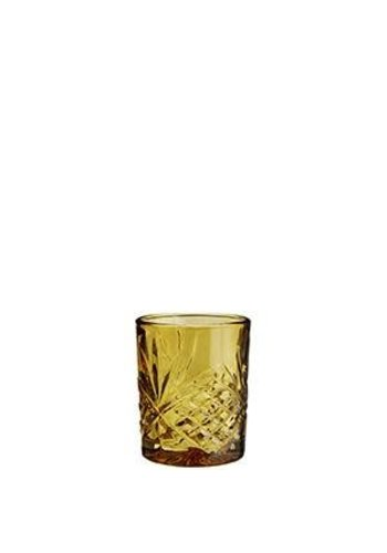Madam Stoltz Water Glass Cutted Amber
