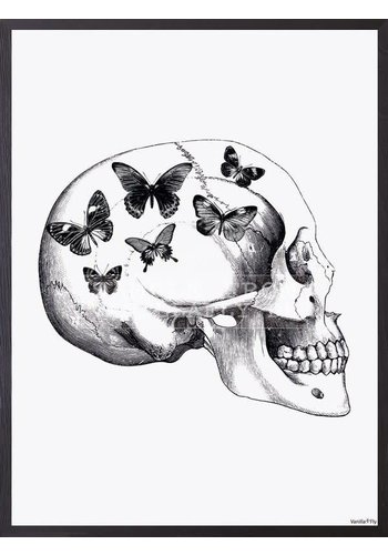 Frame 30x40cm Skull With butterfly