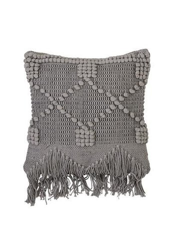 Bloomingville Cushion Grey dots + fringes