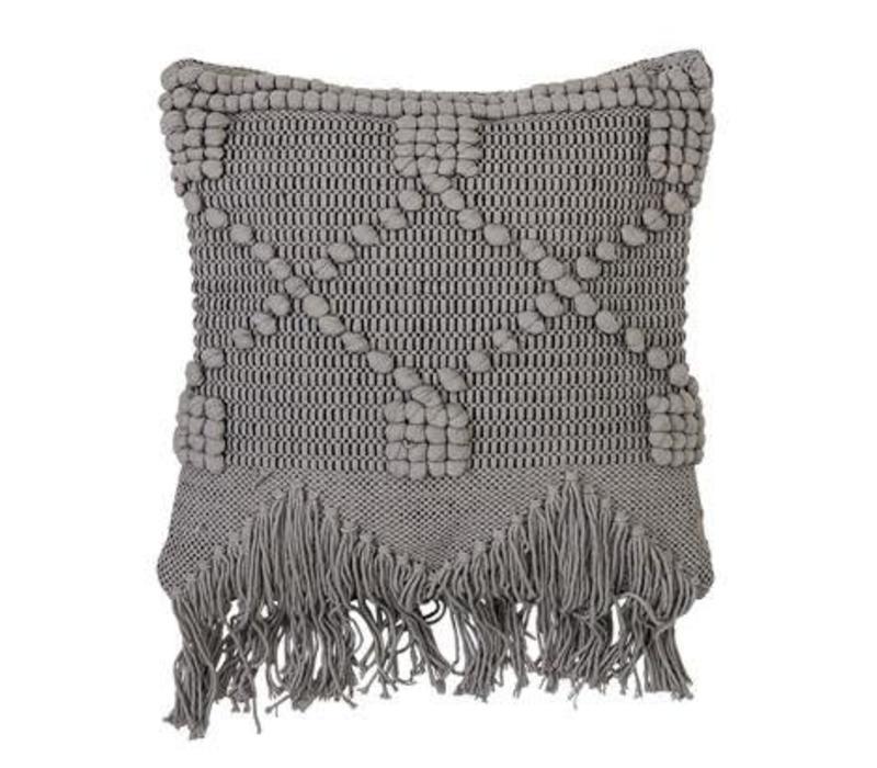 Cushion Grey dots + fringes