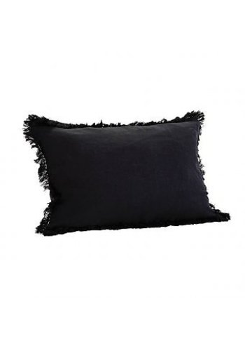 Madam Stoltz Cushion With Fringes Black