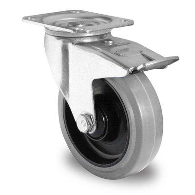 Zwenkwiel geremd 125mm diameter met kogellager - PA / Rubber