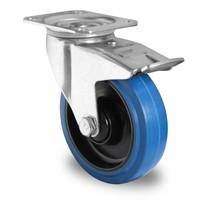 Rotom Zwenkwiel geremd 100mm diameter met kogellager - PA / Rubber