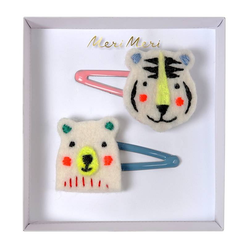Meri Meri Embroidered bear & tiger hair clips