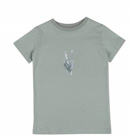 One we Like T-shirt peace print jadeite green