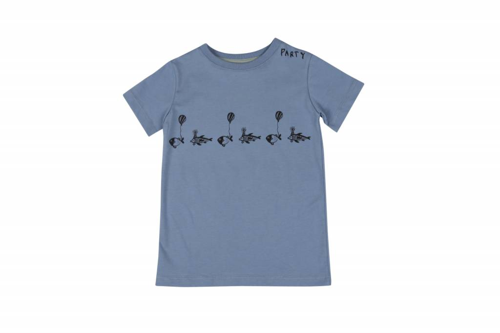 One we Like T-shirt fish party faded denim