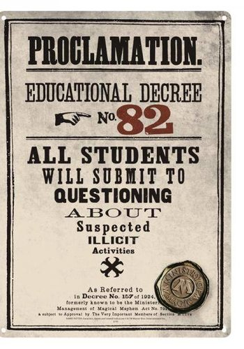 HARRY POTTER - Tin Sign 21 X 15 - Decree 82