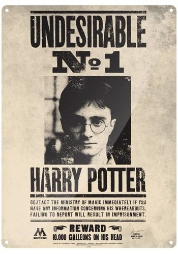 HARRY POTTER - Tin sign 41 X 30 - Undesirable N° 1