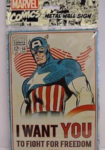 MARVEL - Plaque Metal 21 X 15 - Captain America