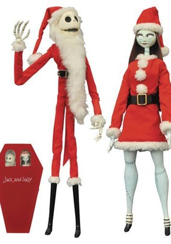 Diamond Direct Nightmare Before Christmas Santa Jack & Sally Coffin Doll Set