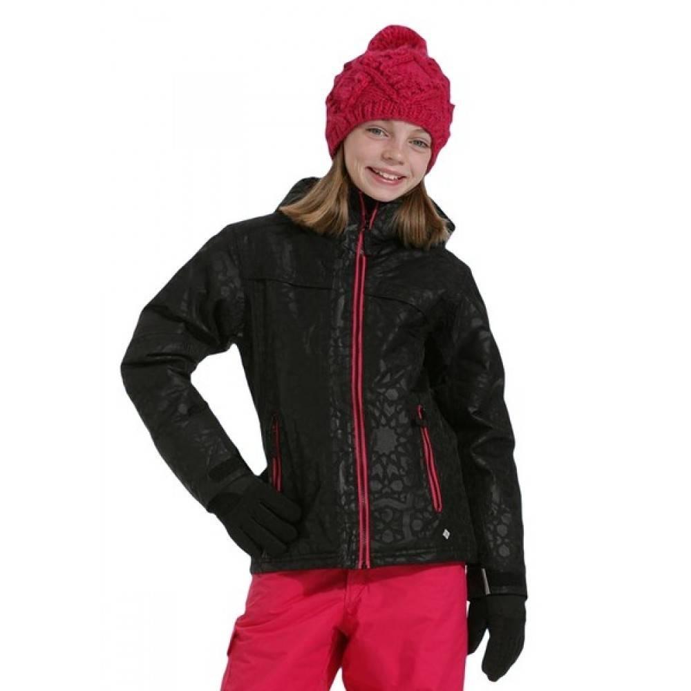 Girls Snow Flame Ski Jacket Black Embossed