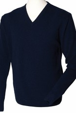 OA Mens Lambswool V-Neck Jumper Navy