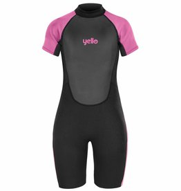 Girls Basking Shorty Wetsuit Black/Pink