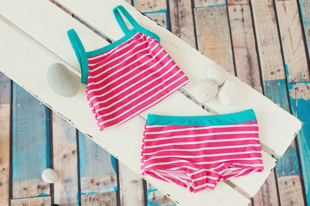 Girls Striped Tankini Pink