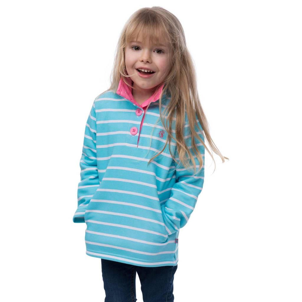 Lighthouse Girls Pearl Zip Sweater Aqua Stripe