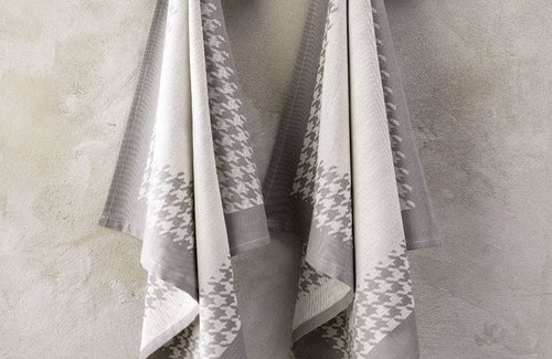 De Witte Lietaer Geschirrtuch Pied De Poule 65x65 Grey
